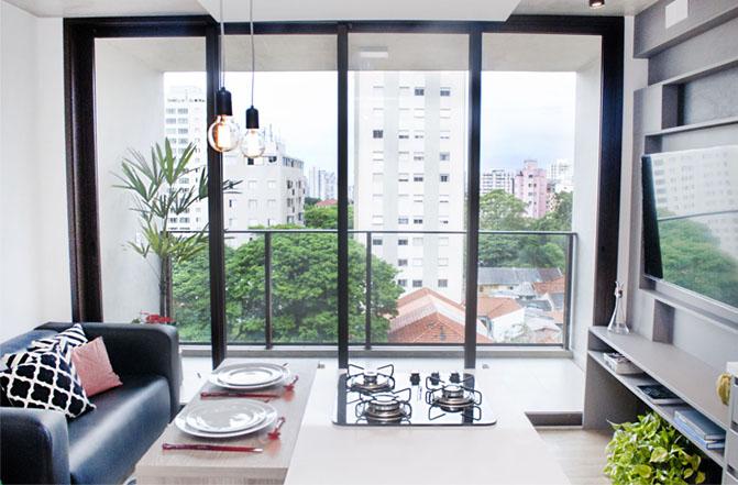 Battaglia Arquitetura cria ambiente funcional e descolado para apartamento de 47 m²