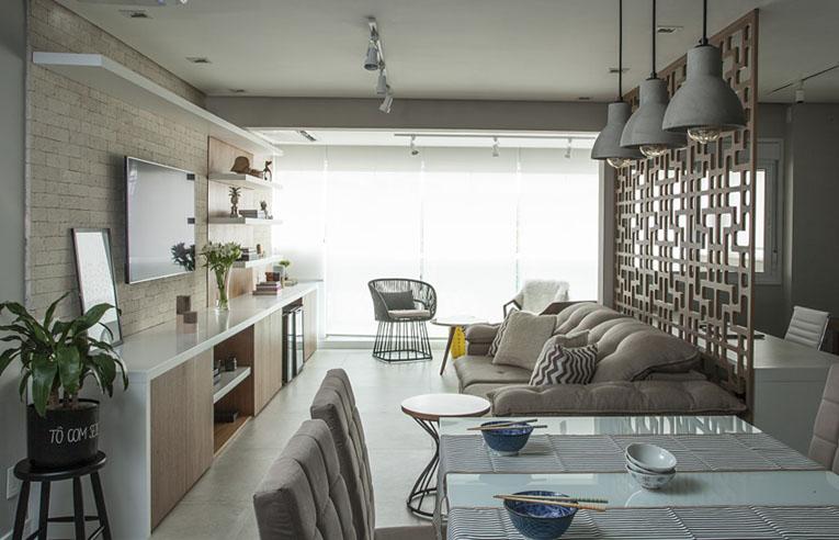 Minimalismo oriental e estilo industrial se unem em apê reformado pelo arquiteto Bruno Moraes