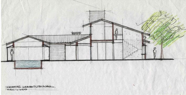 Projeto e seu desenho, feito pelo Studio Davini Castro. A fachada dessa casa de campo ganhou textura com gel envelhecedor e telhas de barro. Molduras brancas destacam as esquadrias