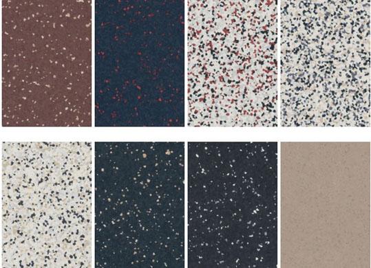 Alguma das cores disponíveis no mix de pisos vinílicos em manta da Linha iQ Surface
