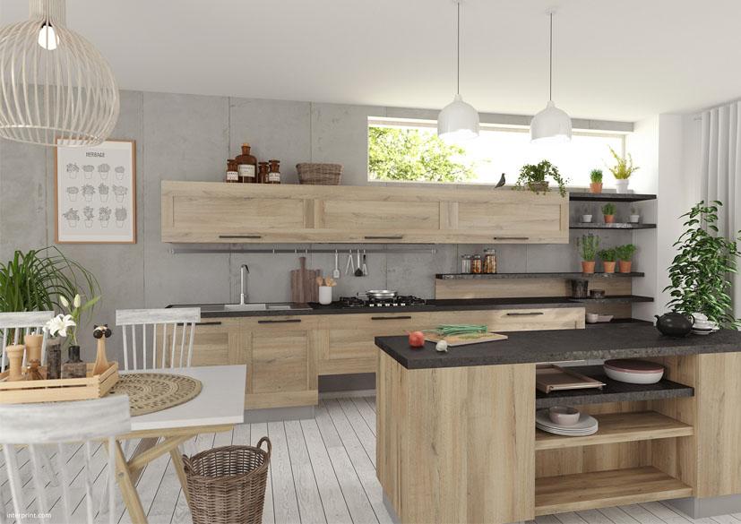 Cozinha em Kronberg carvalho natural