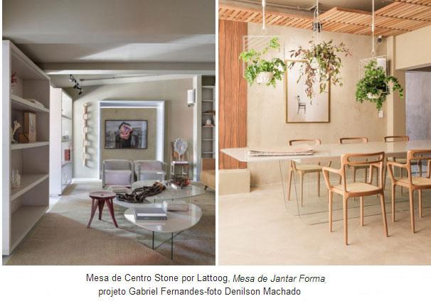 Mesa de Centro Stone por Lattoog | Mesa de Jantar Forma - Projetos: Gabriel Fernandes - Fotos: Denilson Machado / MCA Studio