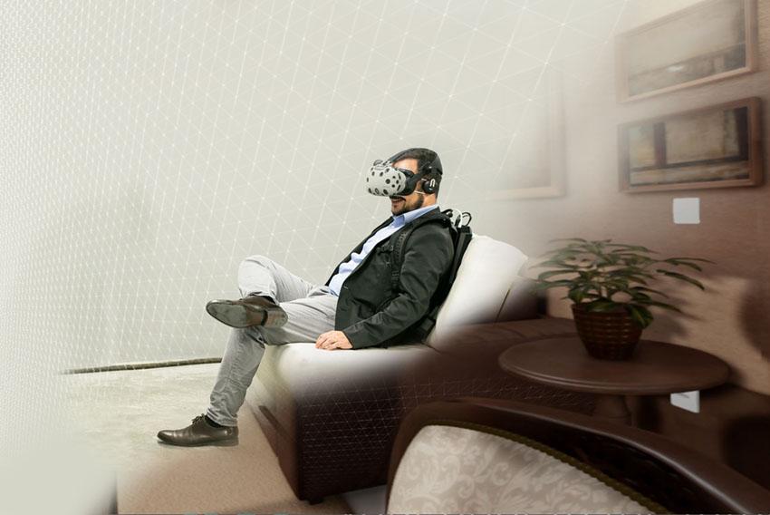 Os óculos de realidade virtual transmitem as imagens do apartamento e é possível que o cliente se movimente pelos ambientes