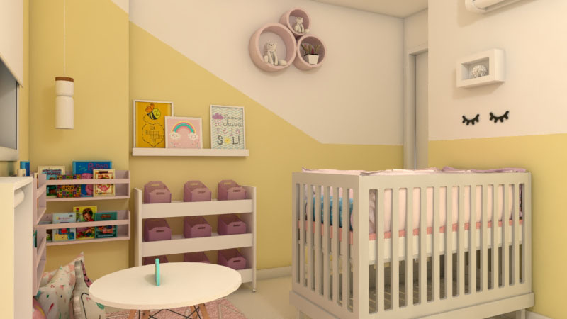 Cores claras e desenhos para transição de quarto infantil