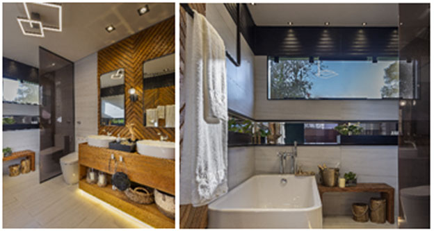 Sala de banho Roca, com a bacia com caixa acoplada In-Wash, Banheira Element e Cuba de apoio Inspira Round